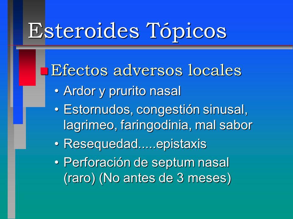 Esteroides Tópicos Efectos adversos locales Ardor y prurito nasal