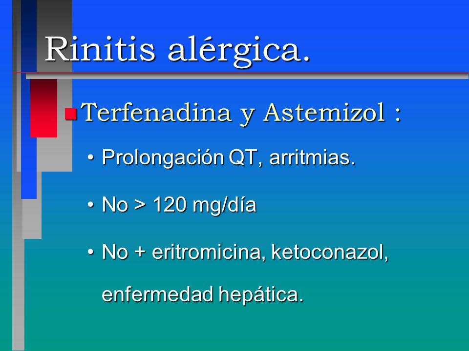 Rinitis alérgica. Terfenadina y Astemizol :