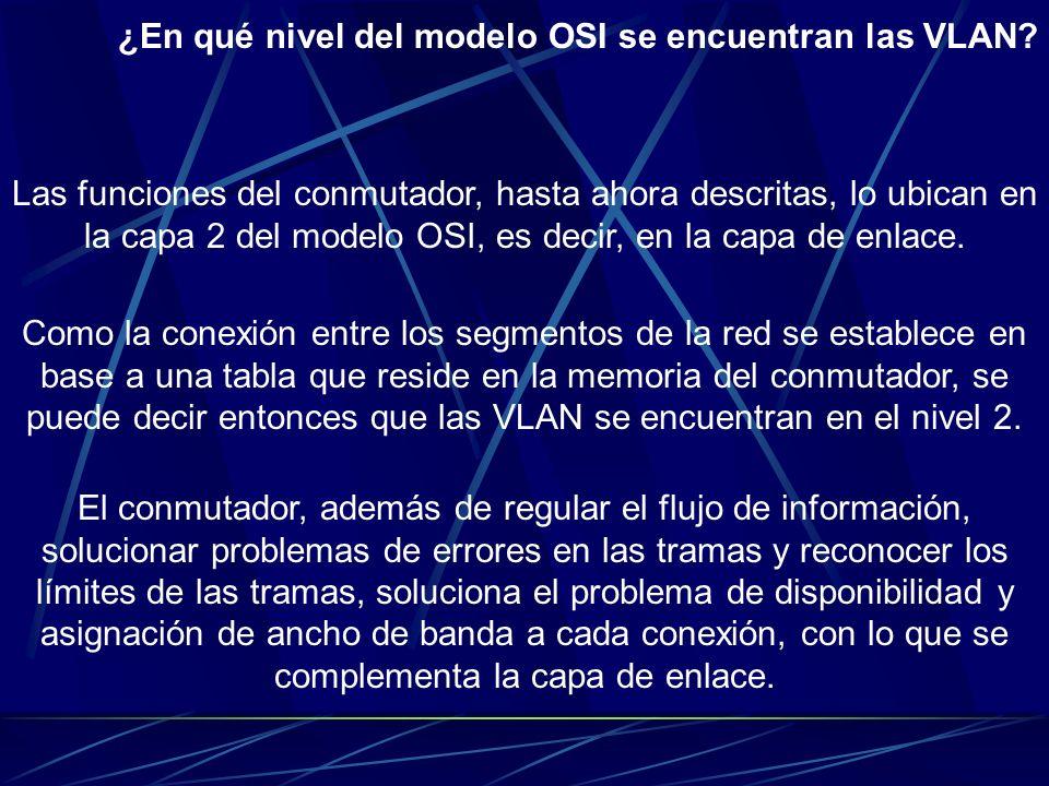 ¿En qué nivel del modelo OSI se encuentran las VLAN