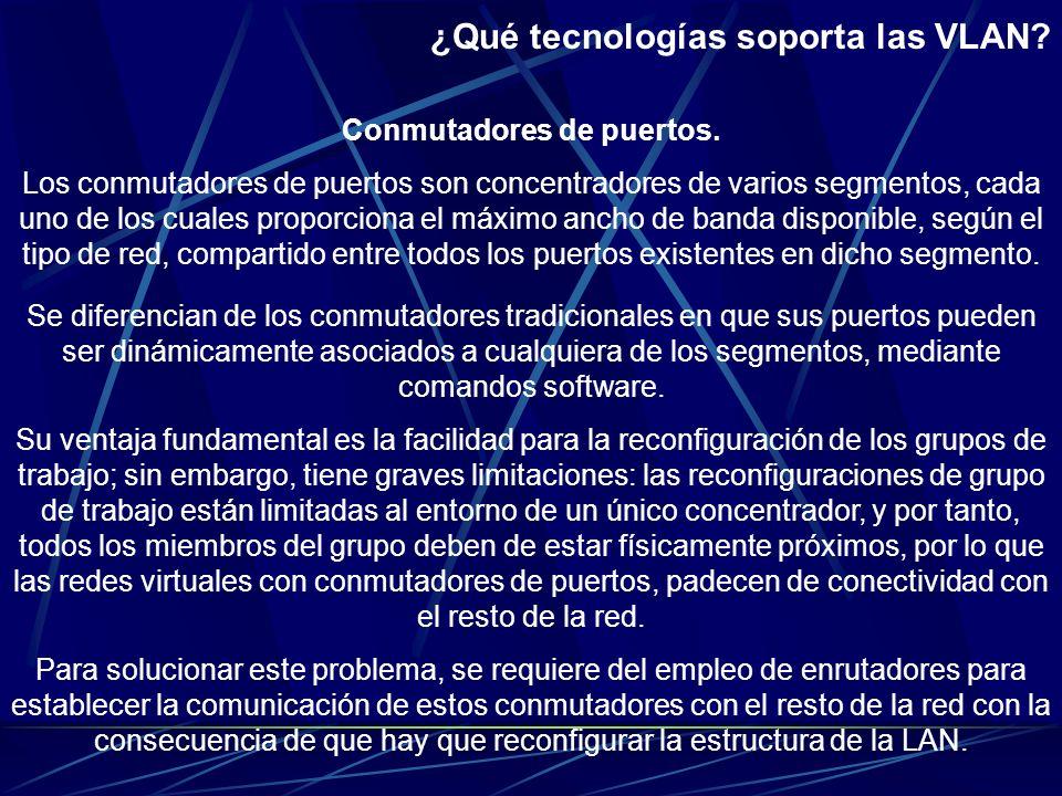 ¿Qué tecnologías soporta las VLAN