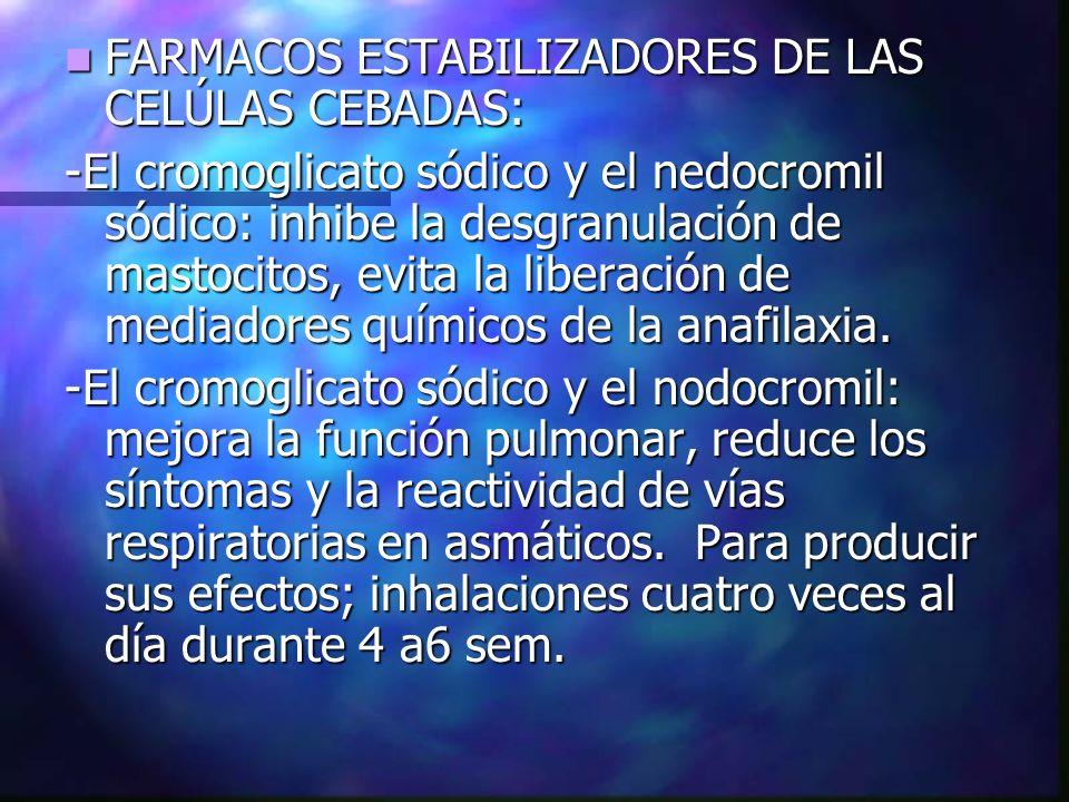 FARMACOS ESTABILIZADORES DE LAS CELÚLAS CEBADAS: