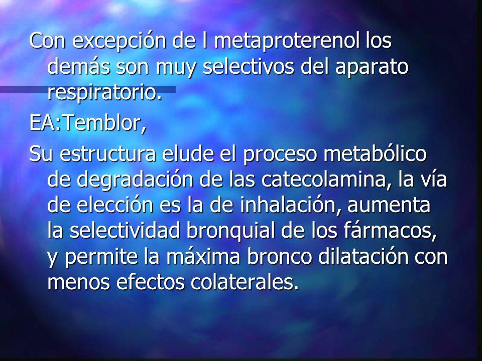 Con excepción de l metaproterenol los demás son muy selectivos del aparato respiratorio.