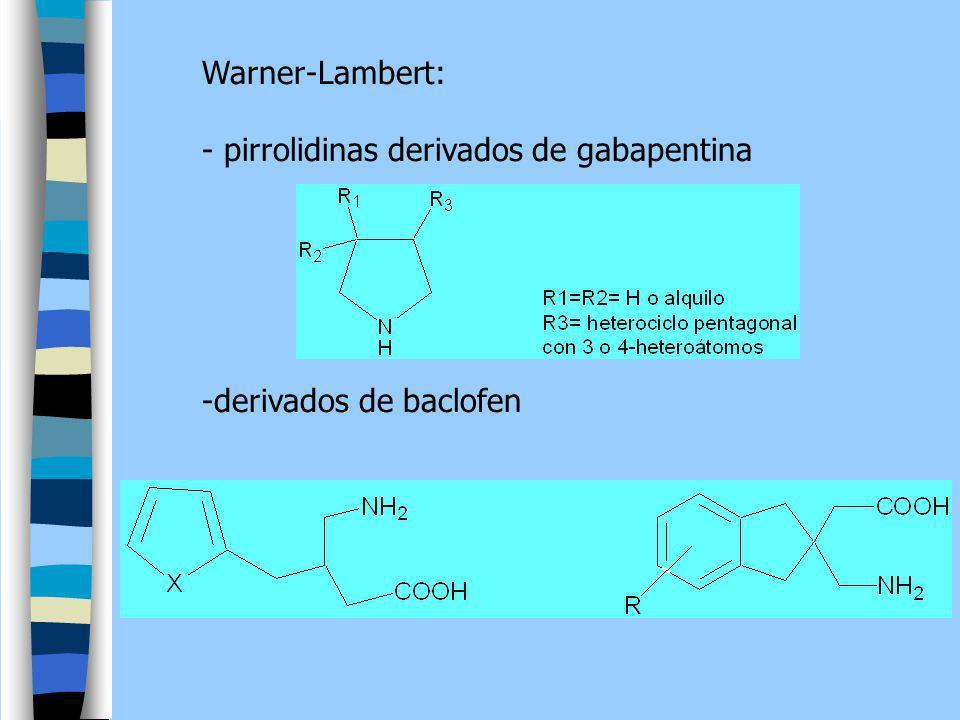 Warner-Lambert: - pirrolidinas derivados de gabapentina derivados de baclofen