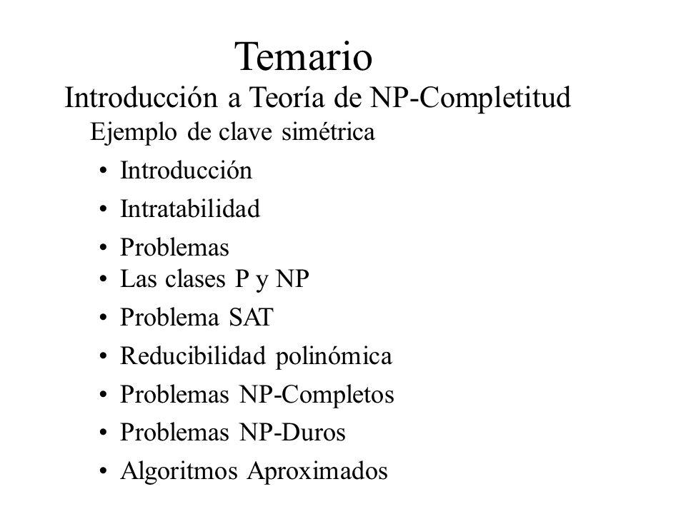 Temario Introducción a Teoría de NP-Completitud Ejemplo de clave simétrica. Introducción. Intratabilidad.