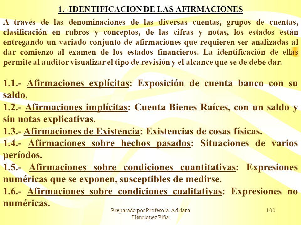 1.- IDENTIFICACION DE LAS AFIRMACIONES