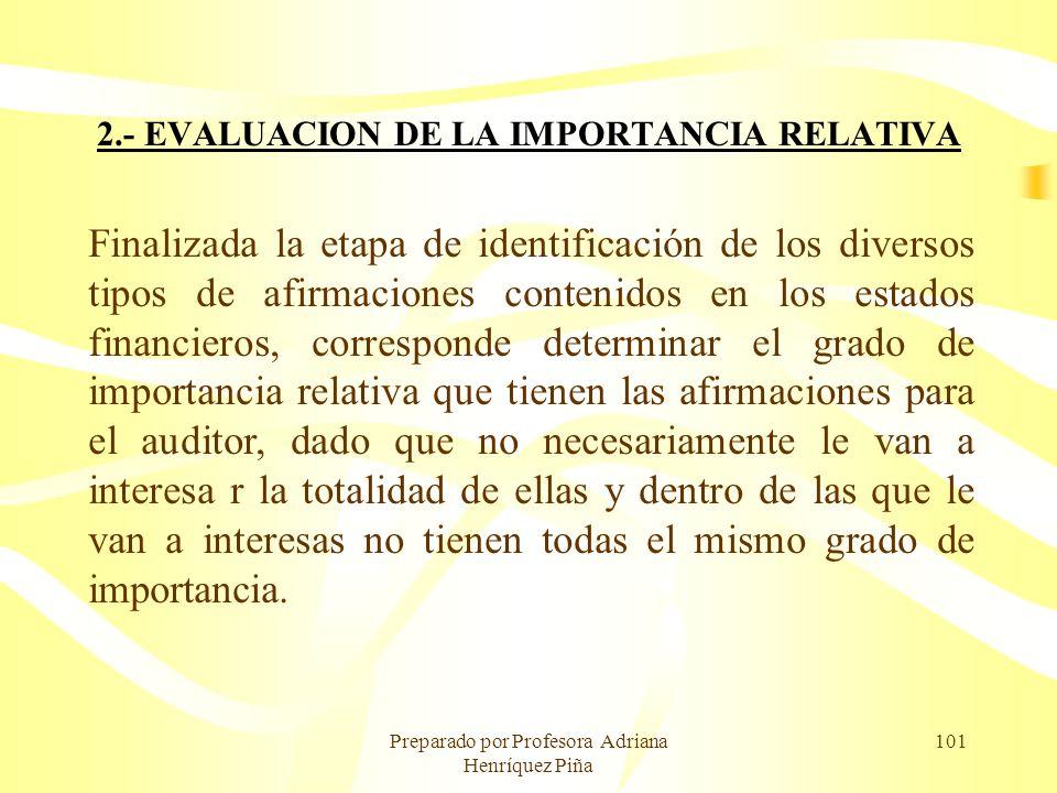 2.- EVALUACION DE LA IMPORTANCIA RELATIVA