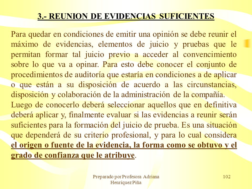 3.- REUNION DE EVIDENCIAS SUFICIENTES