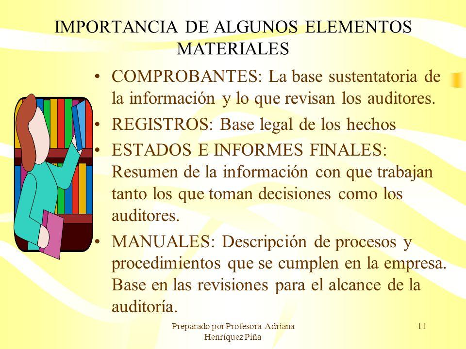 IMPORTANCIA DE ALGUNOS ELEMENTOS MATERIALES
