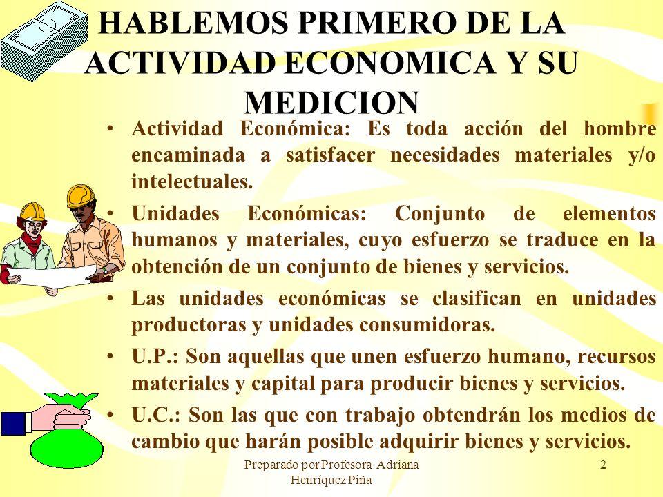 HABLEMOS PRIMERO DE LA ACTIVIDAD ECONOMICA Y SU MEDICION