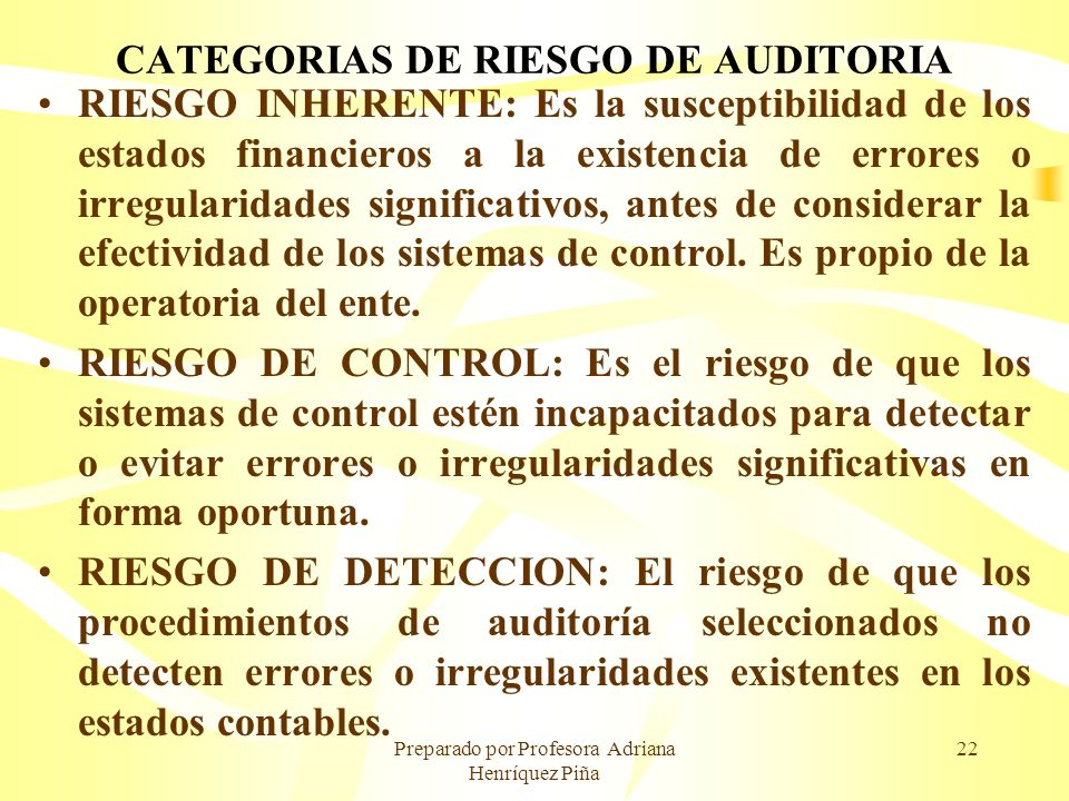 CATEGORIAS DE RIESGO DE AUDITORIA