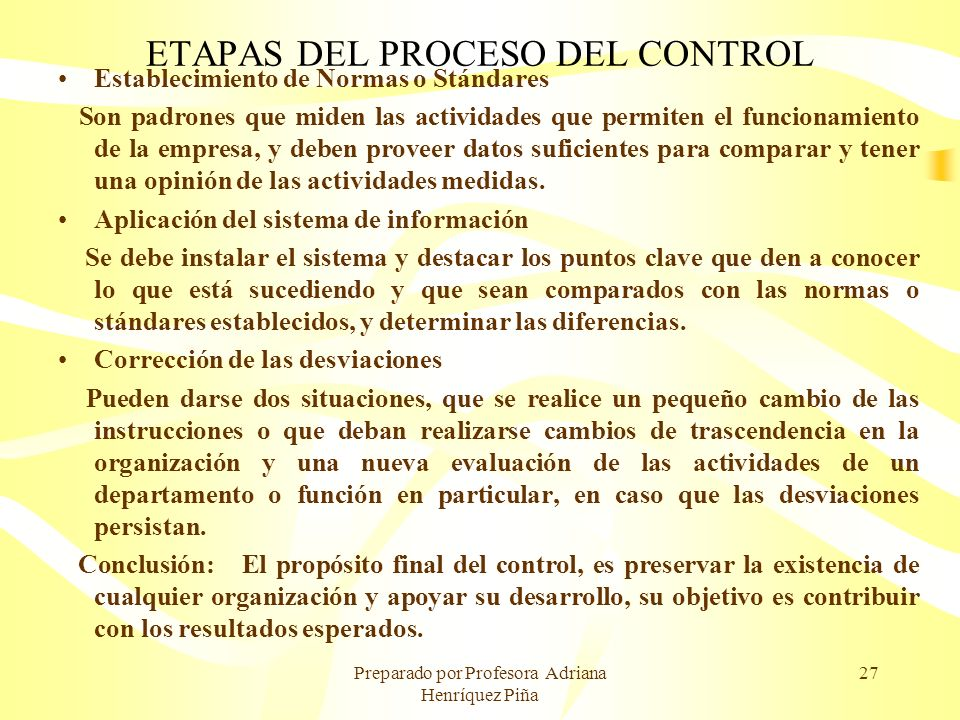 ETAPAS DEL PROCESO DEL CONTROL