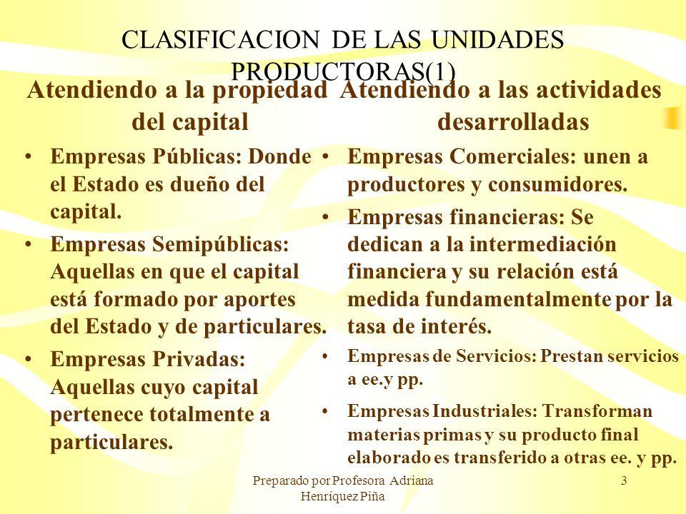 CLASIFICACION DE LAS UNIDADES PRODUCTORAS(1)