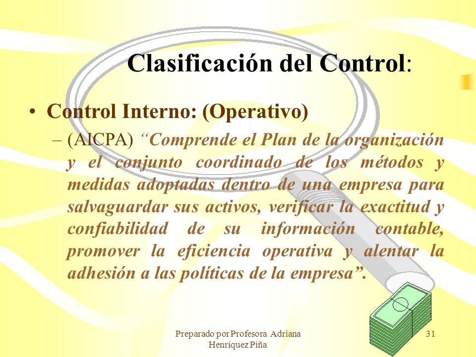 Clasificación del Control: