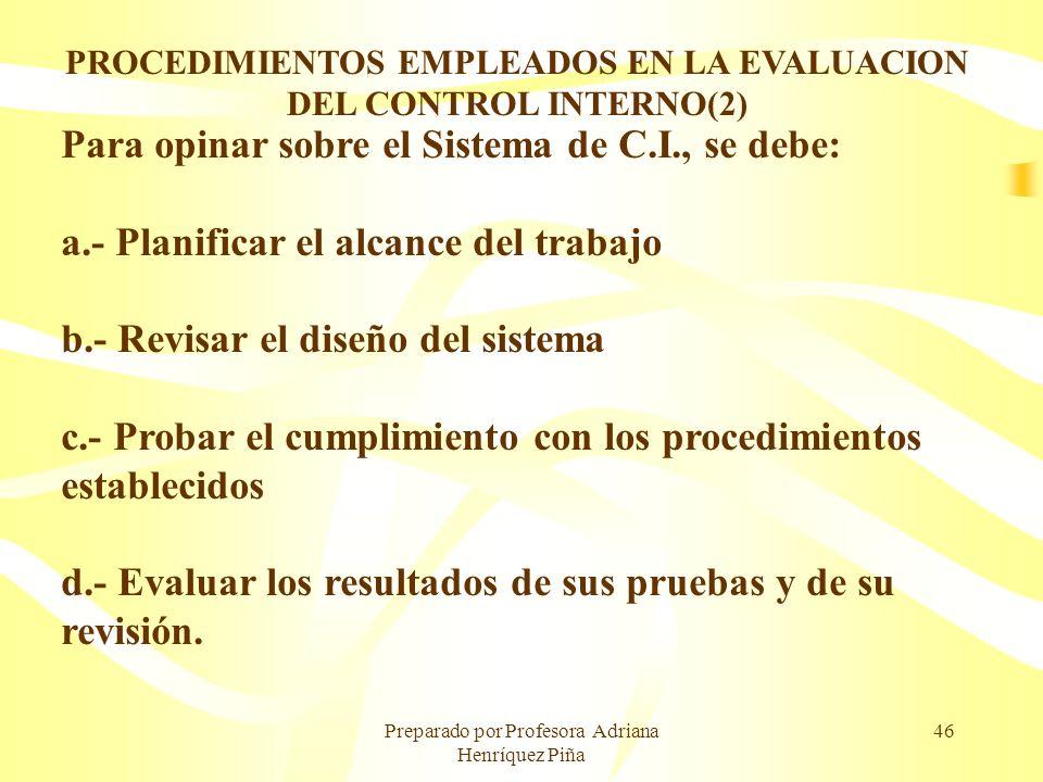 PROCEDIMIENTOS EMPLEADOS EN LA EVALUACION DEL CONTROL INTERNO(2)