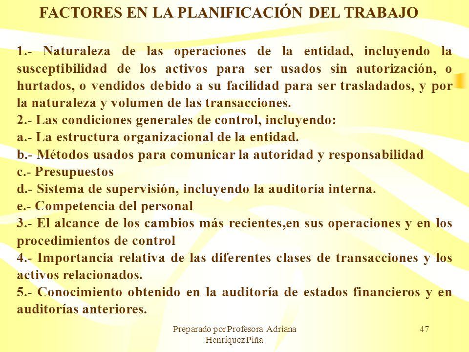 FACTORES EN LA PLANIFICACIÓN DEL TRABAJO
