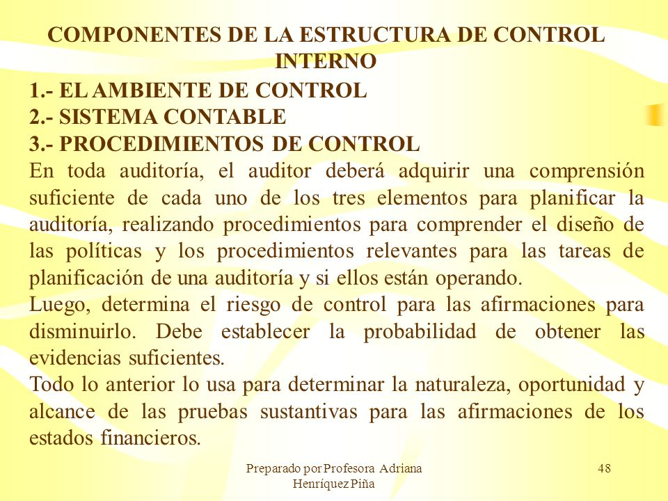 COMPONENTES DE LA ESTRUCTURA DE CONTROL INTERNO