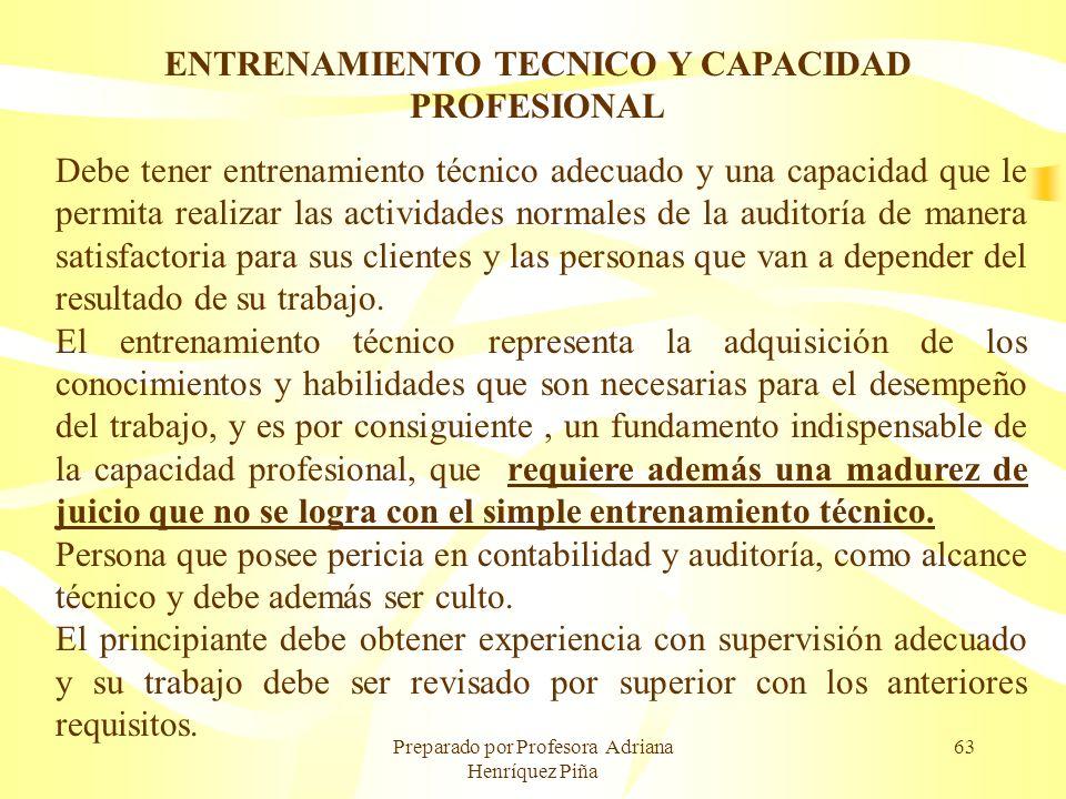 ENTRENAMIENTO TECNICO Y CAPACIDAD PROFESIONAL