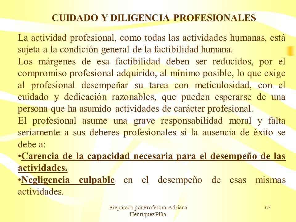 CUIDADO Y DILIGENCIA PROFESIONALES