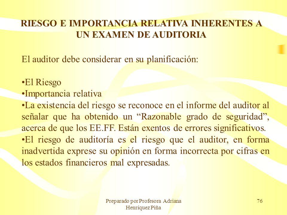 RIESGO E IMPORTANCIA RELATIVA INHERENTES A UN EXAMEN DE AUDITORIA