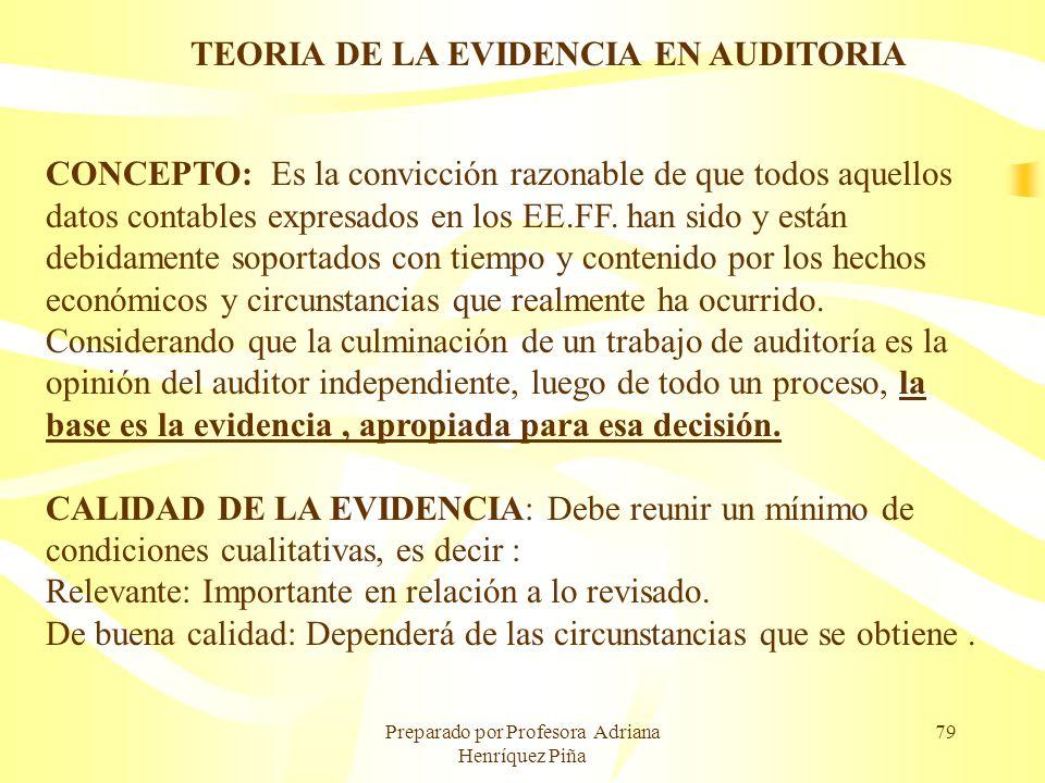 TEORIA DE LA EVIDENCIA EN AUDITORIA