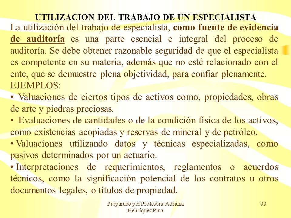 UTILIZACION DEL TRABAJO DE UN ESPECIALISTA