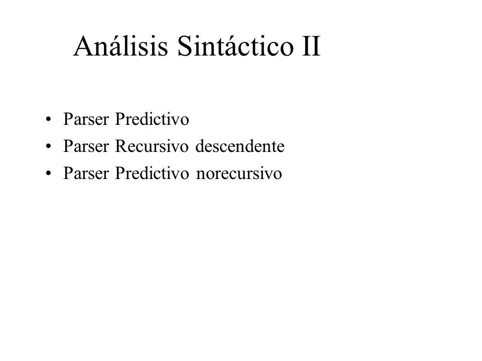 Análisis Sintáctico II