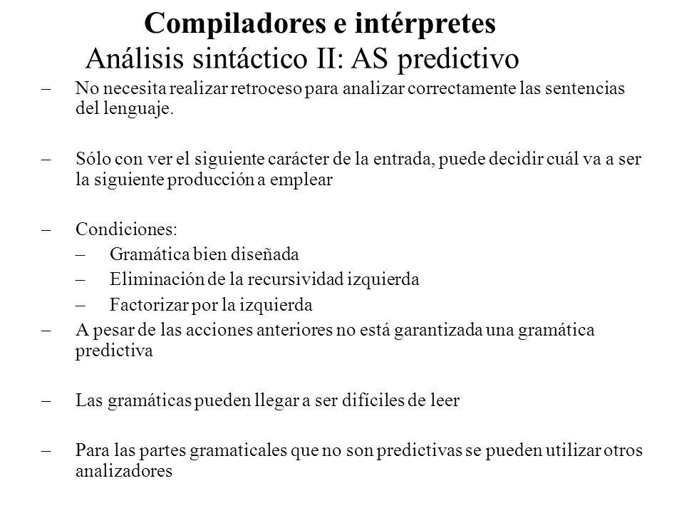 Análisis sintáctico II: AS predictivo