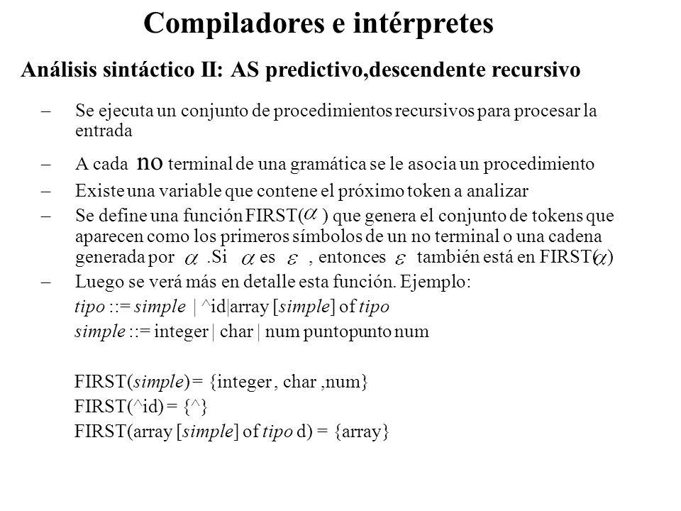 Análisis sintáctico II: AS predictivo,descendente recursivo