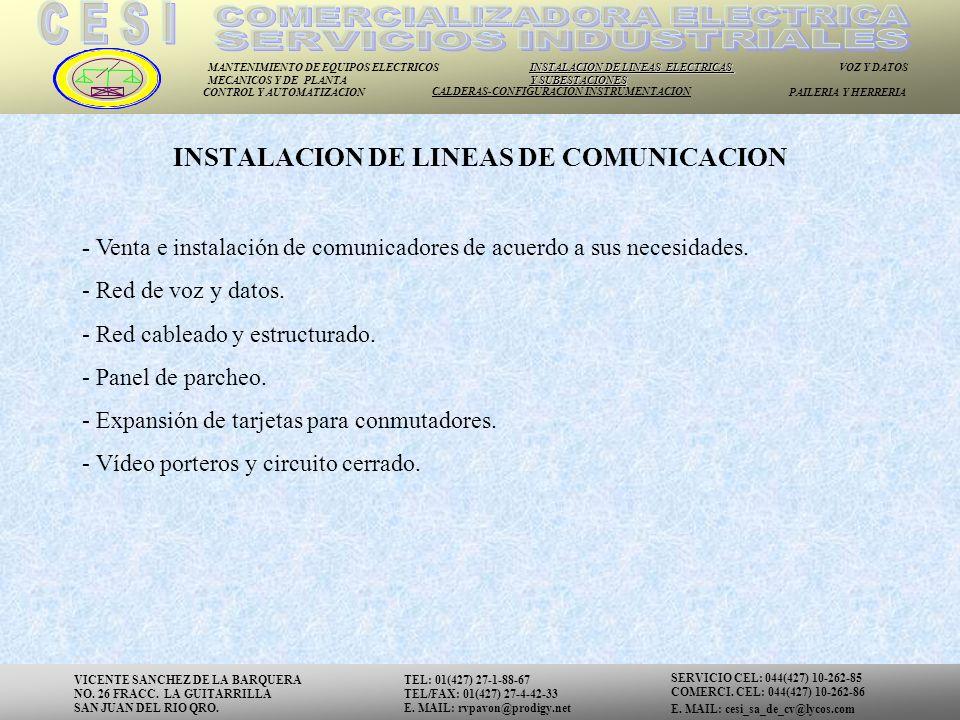 INSTALACION DE LINEAS DE COMUNICACION