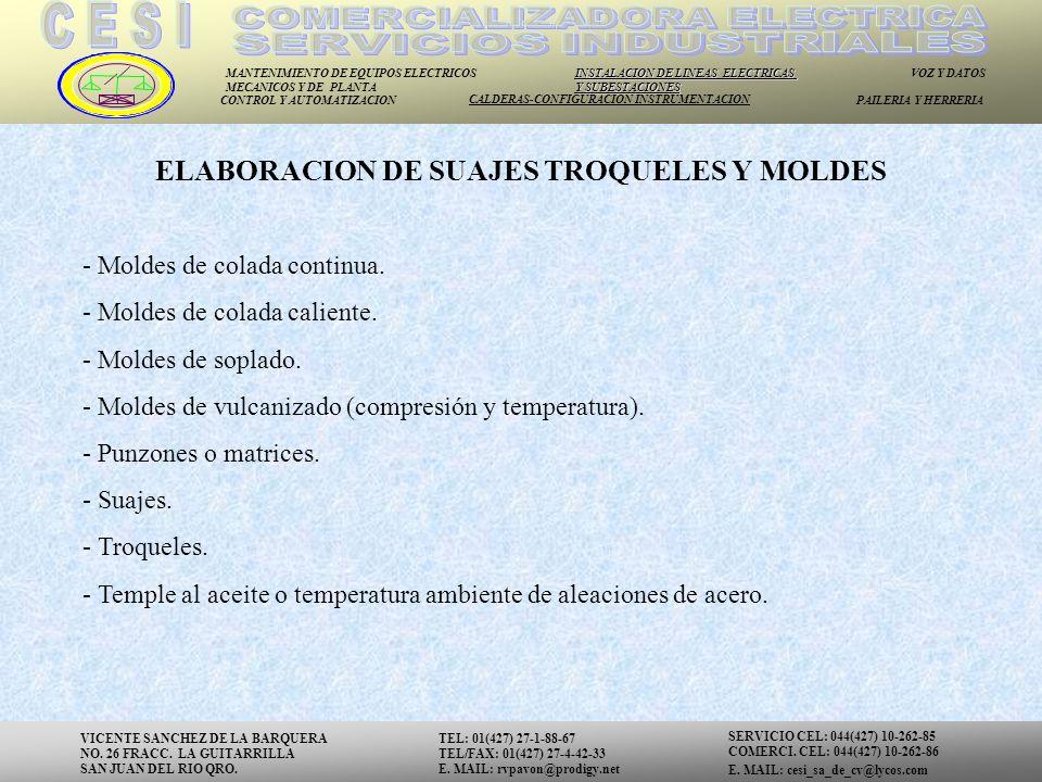 ELABORACION DE SUAJES TROQUELES Y MOLDES