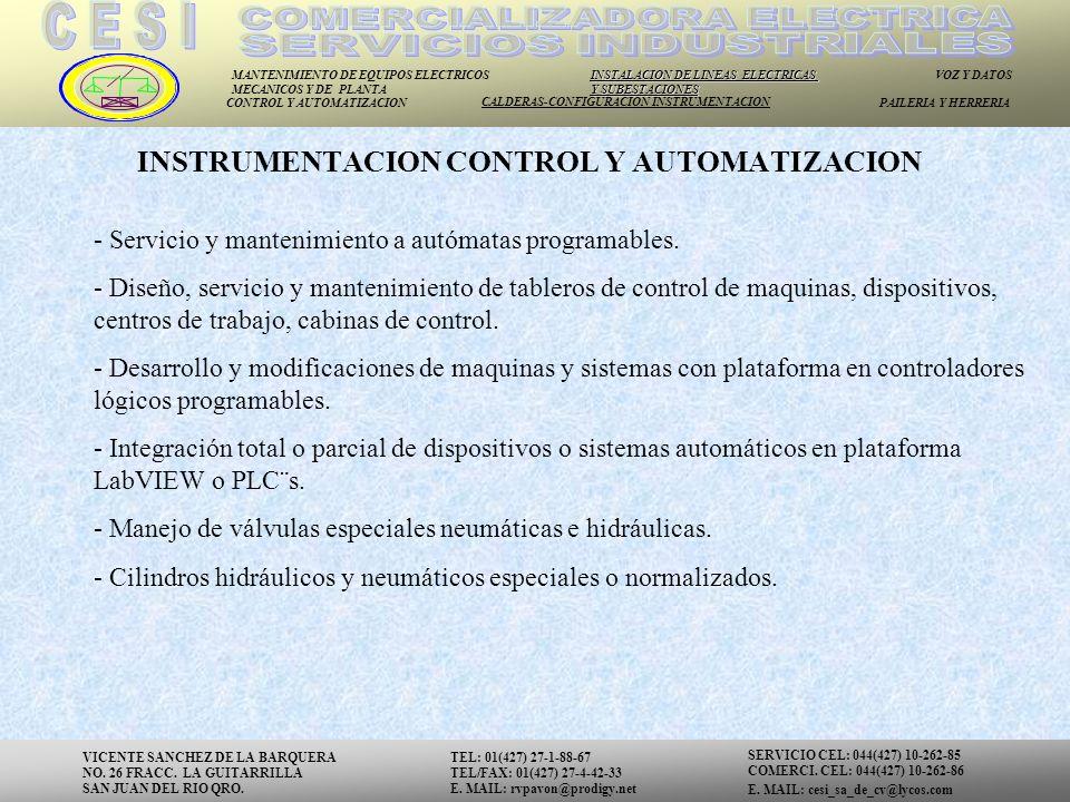 INSTRUMENTACION CONTROL Y AUTOMATIZACION