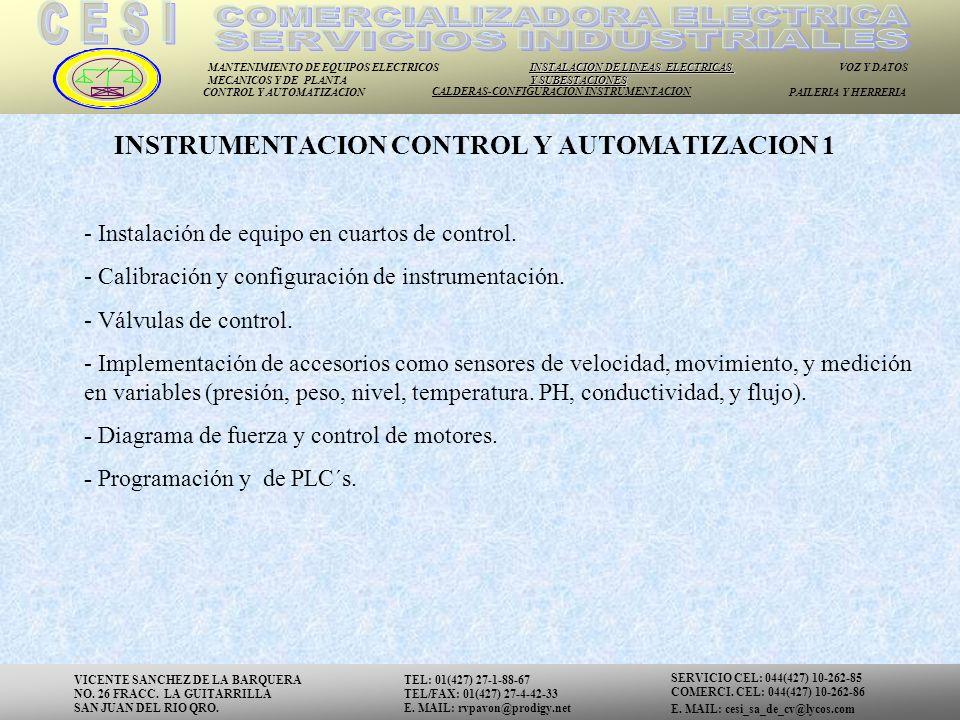 INSTRUMENTACION CONTROL Y AUTOMATIZACION 1