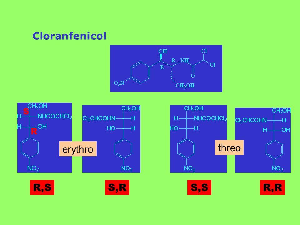 Cloranfenicol S R erythro threo R,S S,R S,S R,R