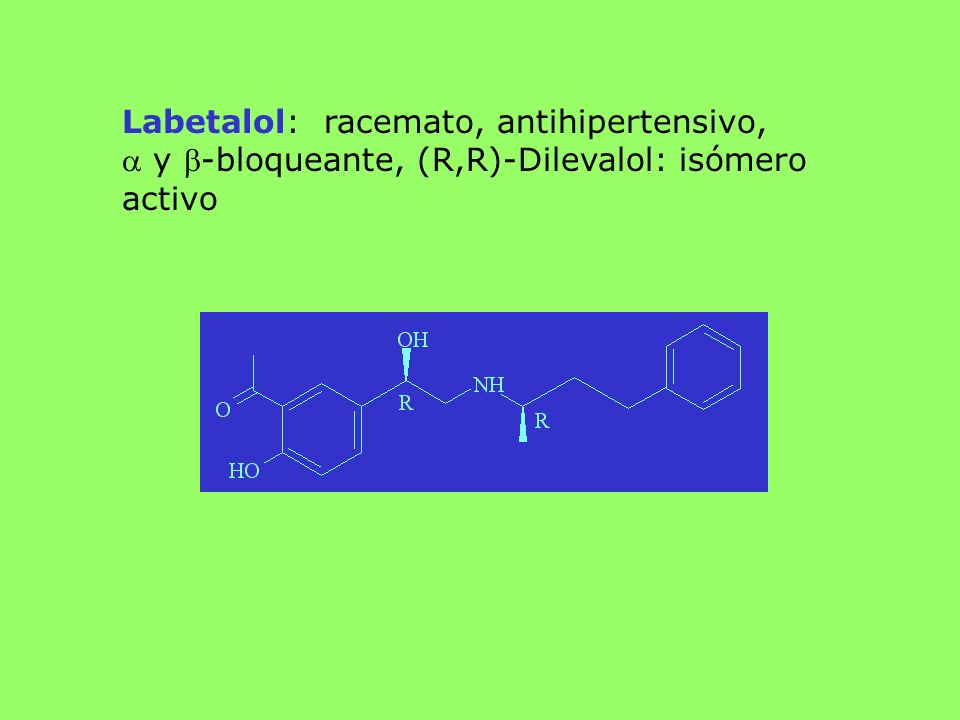Labetalol: racemato, antihipertensivo,