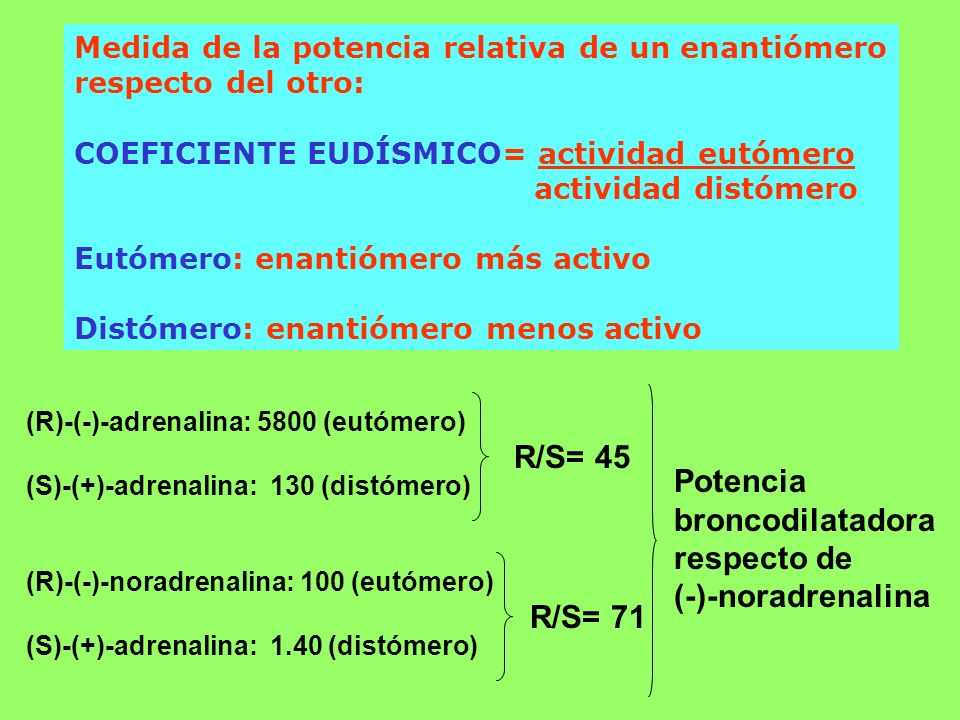 R/S= 45 Potencia broncodilatadora respecto de (-)-noradrenalina