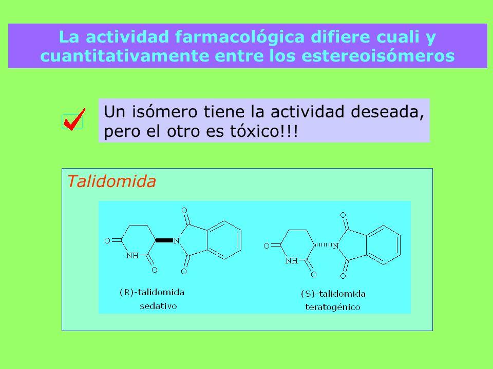 La actividad farmacológica difiere cuali y cuantitativamente entre los estereoisómeros