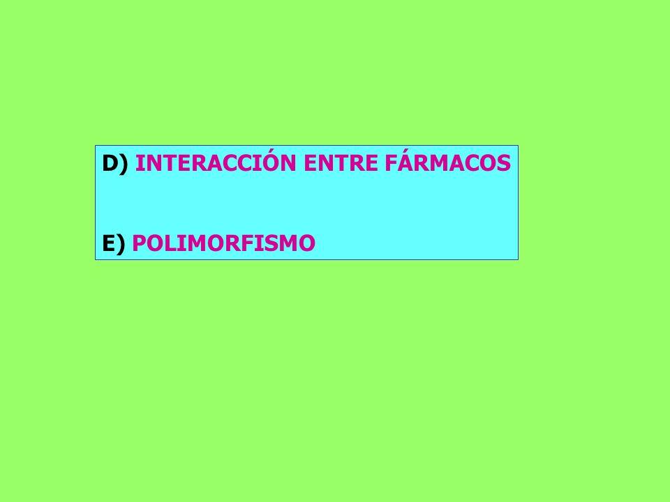 D) INTERACCIÓN ENTRE FÁRMACOS