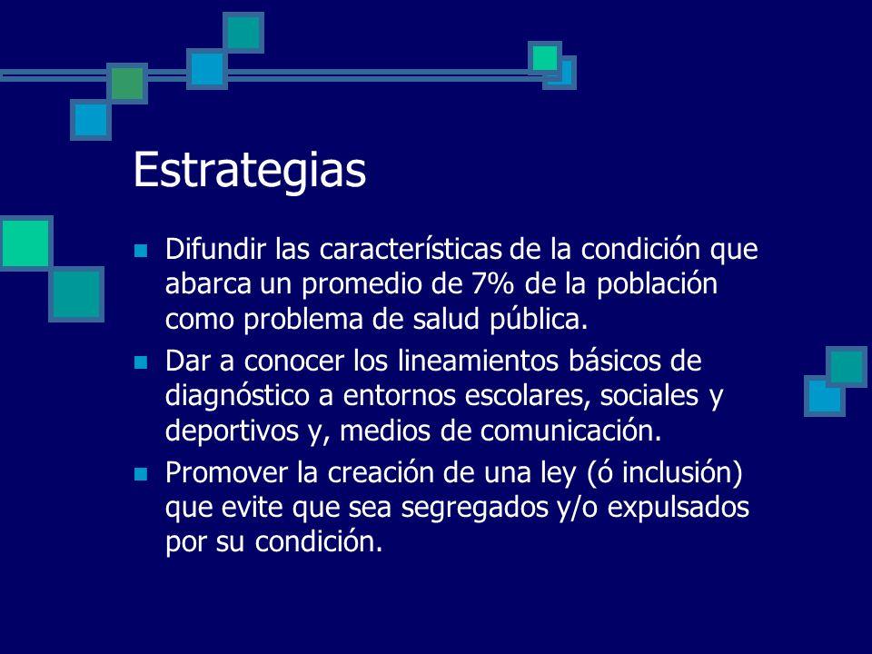 Estrategias Difundir las características de la condición que abarca un promedio de 7% de la población como problema de salud pública.