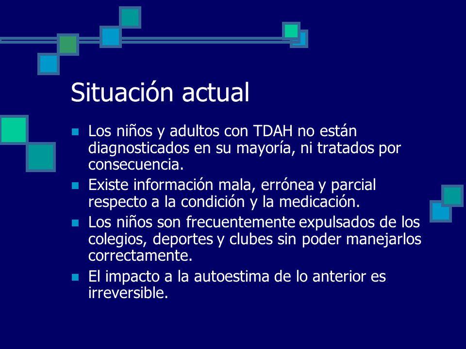 Situación actual Los niños y adultos con TDAH no están diagnosticados en su mayoría, ni tratados por consecuencia.