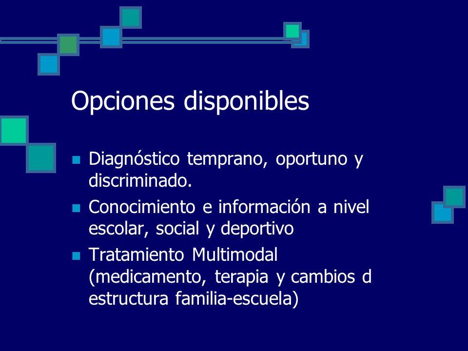 Opciones disponibles Diagnóstico temprano, oportuno y discriminado.