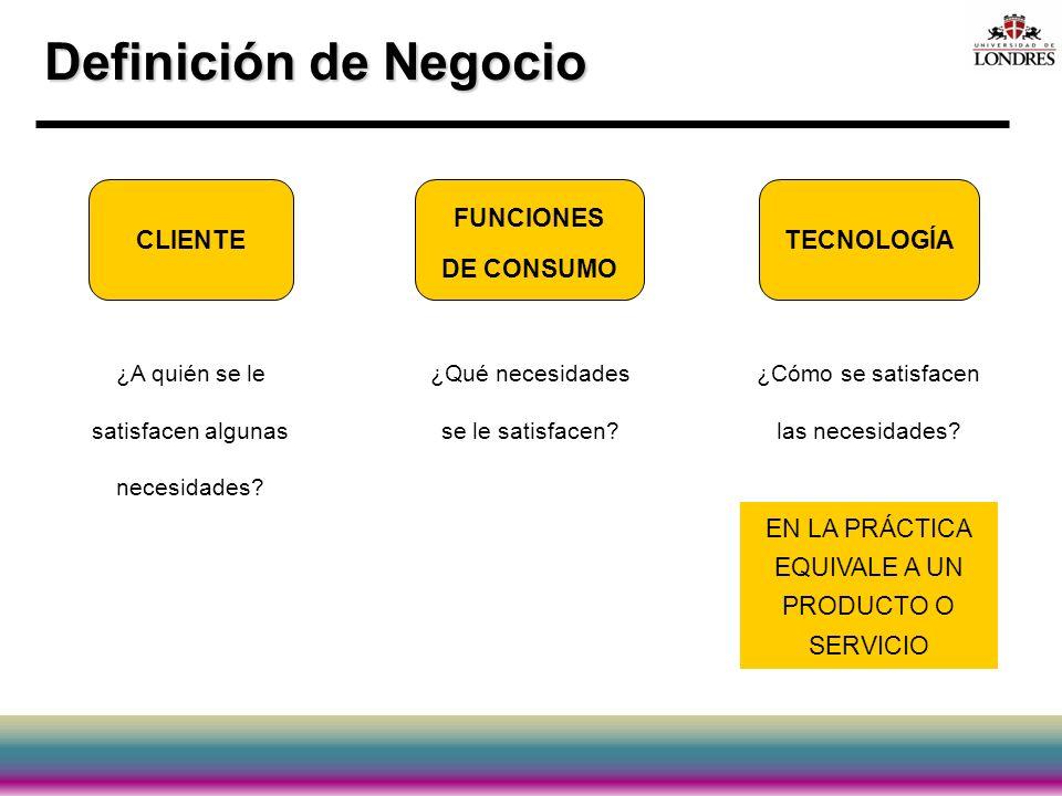 Definición de Negocio CLIENTE FUNCIONES DE CONSUMO TECNOLOGÍA