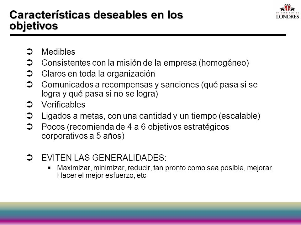 Características deseables en los objetivos