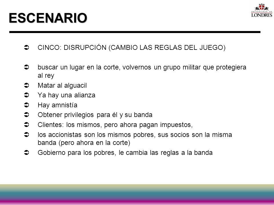 ESCENARIO CINCO: DISRUPCIÓN (CAMBIO LAS REGLAS DEL JUEGO)