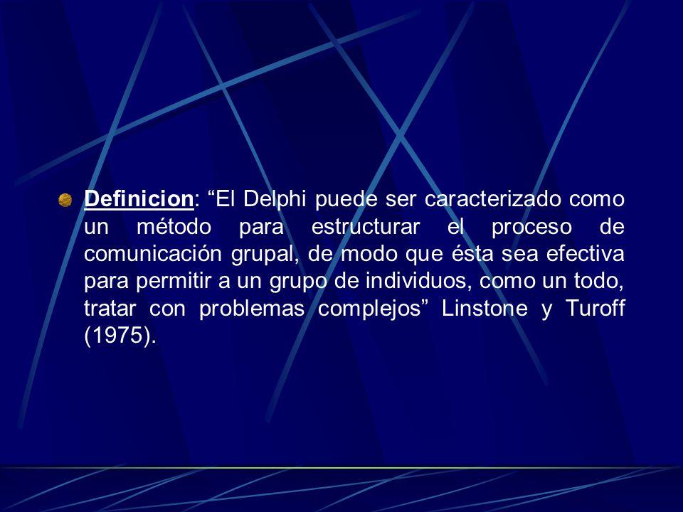 Definicion: El Delphi puede ser caracterizado como un método para estructurar el proceso de comunicación grupal, de modo que ésta sea efectiva para permitir a un grupo de individuos, como un todo, tratar con problemas complejos Linstone y Turoff (1975).