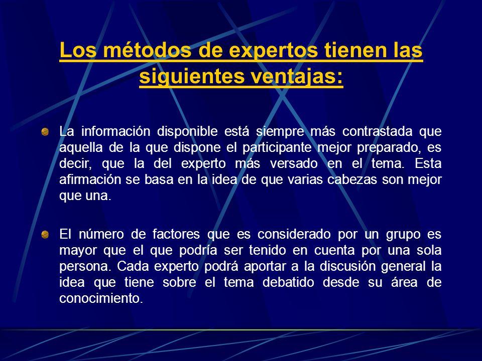 Los métodos de expertos tienen las siguientes ventajas: