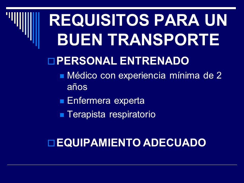 REQUISITOS PARA UN BUEN TRANSPORTE