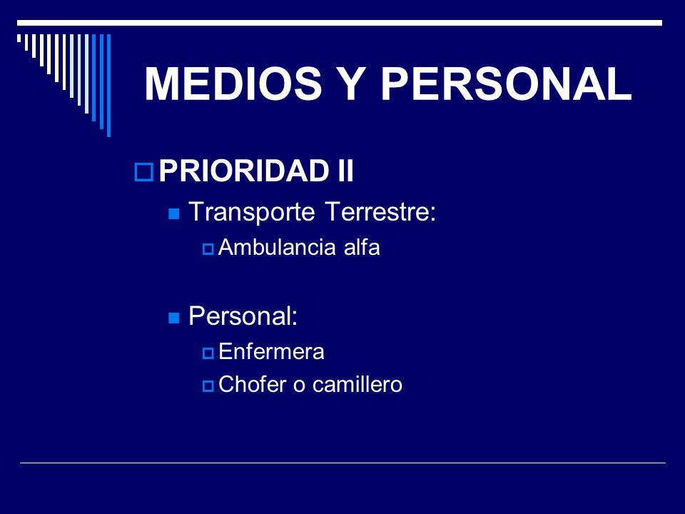 MEDIOS Y PERSONAL PRIORIDAD II Transporte Terrestre: Personal: