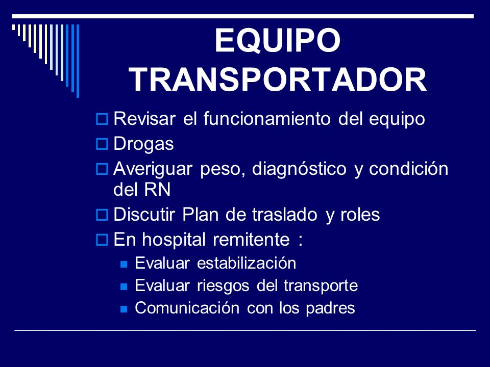 EQUIPO TRANSPORTADOR Revisar el funcionamiento del equipo Drogas