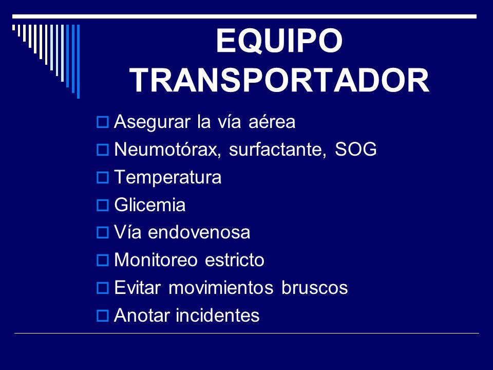 EQUIPO TRANSPORTADOR Asegurar la vía aérea