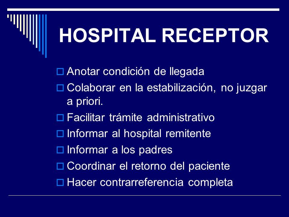 HOSPITAL RECEPTOR Anotar condición de llegada